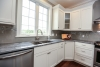 kitchen, white cabinetry, stainless steel appliances, kitchen sink window, gray walls