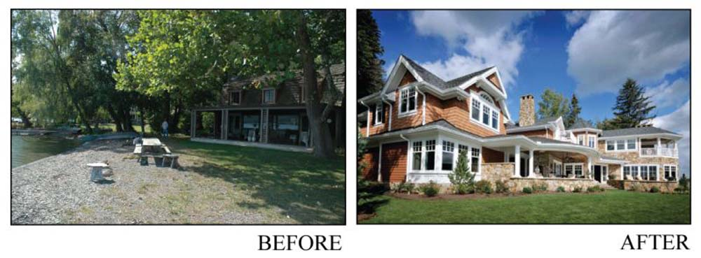 before and after images of an old house revuilt