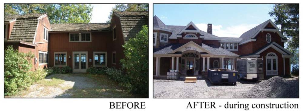 before and after images of an old house rebuilt